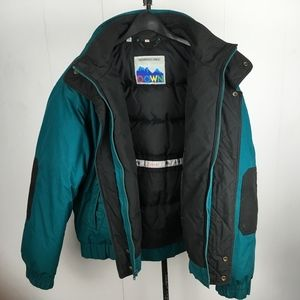 Members Only Down Teal Zip Up Coat Size 44